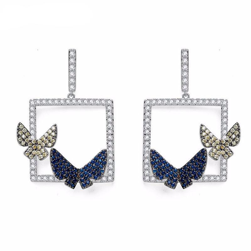 Micro Paved CZ Crystal Double Butterfly Drop Earrings - women accessories - Gaghy.com
