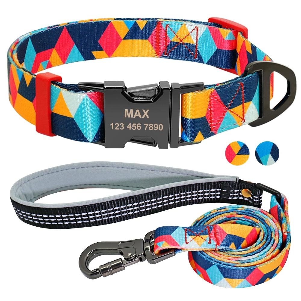 Nylon Dog Collar Leash Set Soft Personalized Custom Pet Name ID Collar Free Engraving