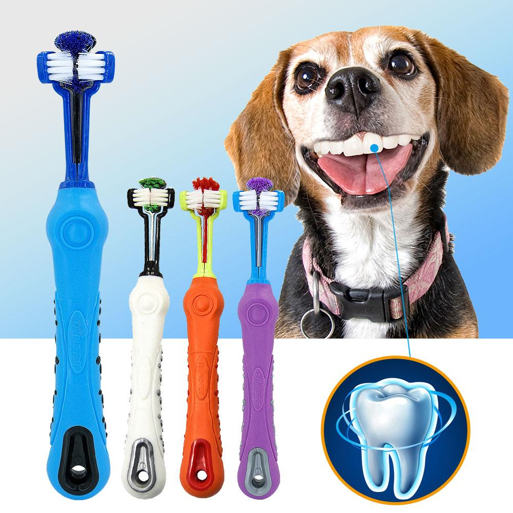 Dog Pet Soft Toothbrush with Three Sided Rubber