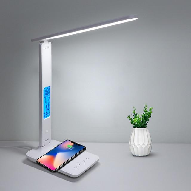 4 IN 1 LED Desk Lamp Built-in 10W QI Wireless Charger with Calendar Temperature Alarm