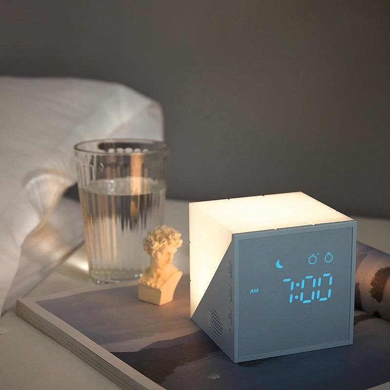 Mini LED USB Night Light with Alarm Clocks Voice Control Touch Cube Rechargeable