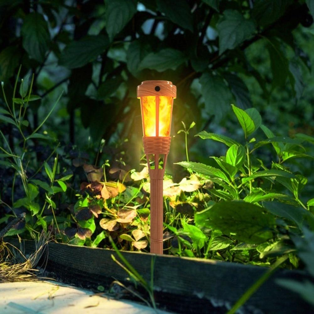 LED Handcraft Bamboo Solar powered LED Flame Effect Lamp IP65