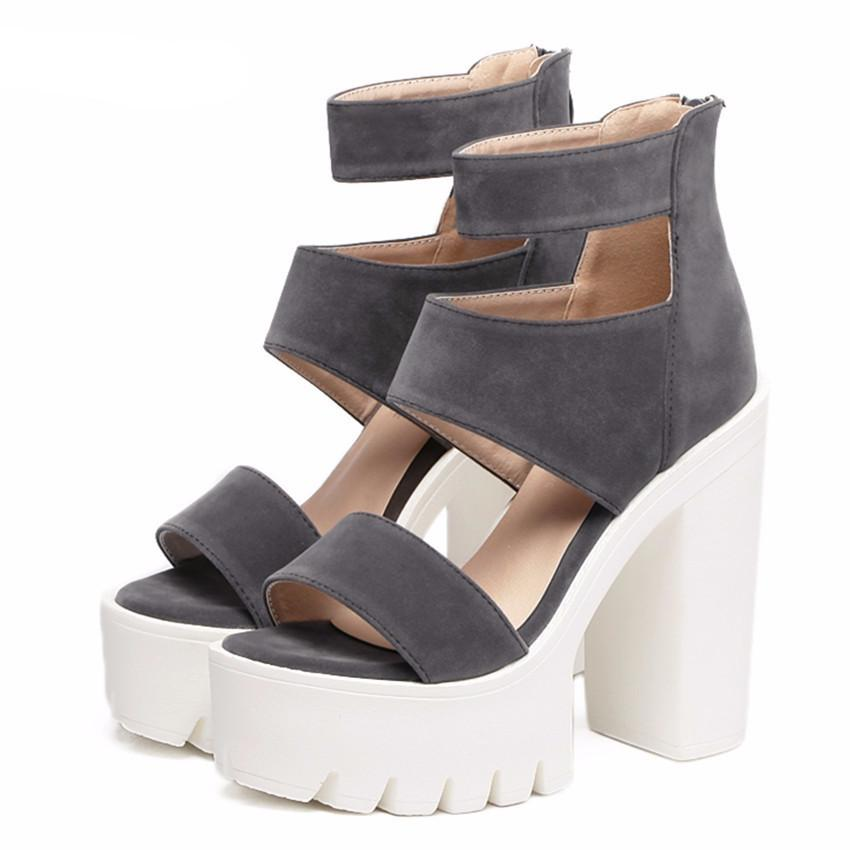 Summer Gladiator Women Casual Cut-outs Open Toe Thick Heels 13cm Shoes - women shoes - Gaghy.com