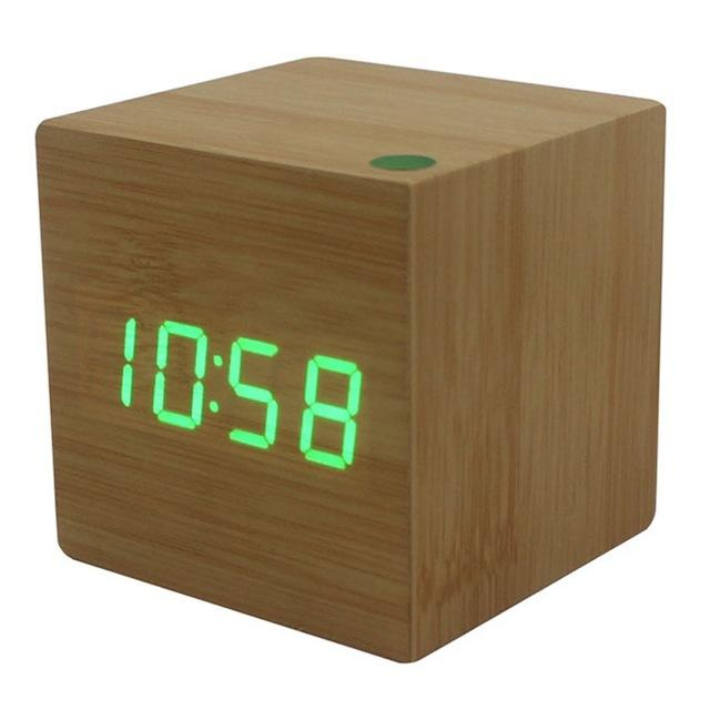 Multicolor Sound Control Wooden Wood Square LED Alarm Clock - gadget - Gaghy.com