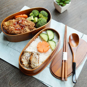 Japanese Double Deck Handmade Wood Bento Boxes Food Containers - food container - Gaghy.com
