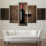 Vintage 5 Panels Red Wine And Wine Bottle Canvas Wall Art - wall canvas - Gaghy.com