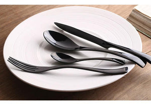 4Pcs/ Black Cutlery Set Stainless Steel Western Food Tableware - kitchen - Gaghy.com
