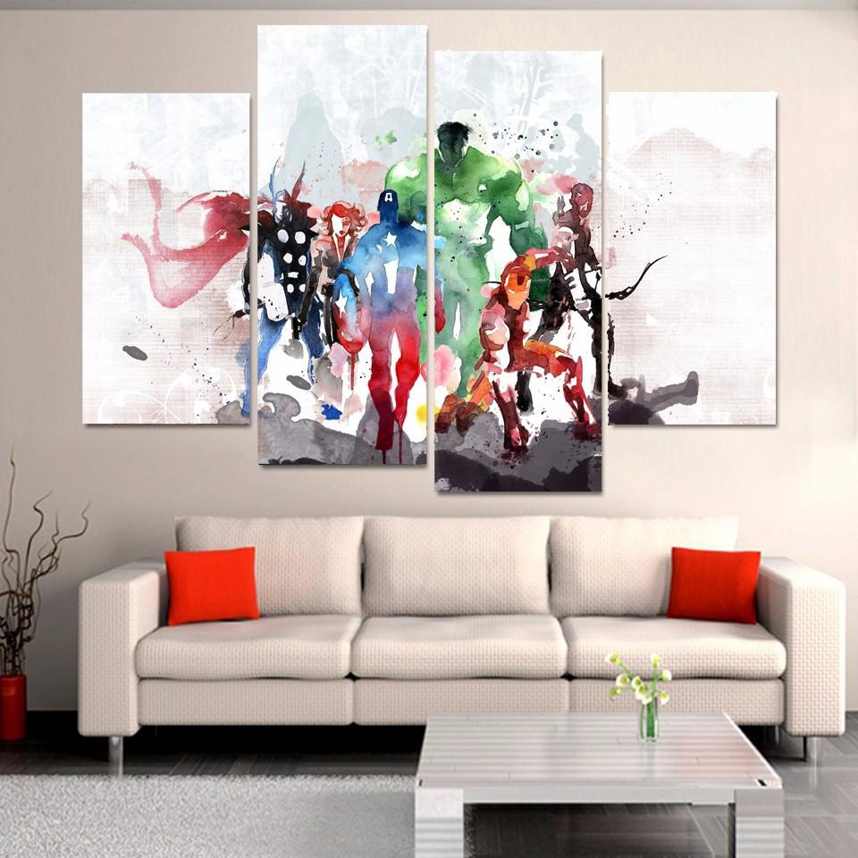 Modular HD Print 4 Panel Avengers Movie Watercolor Painting - wall art - Gaghy.com
