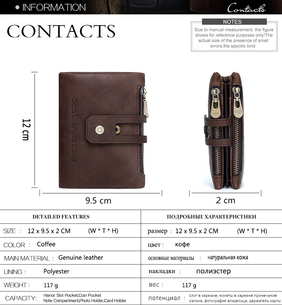 CONTACT'S Genuine Crazy Horse Leather Mens Wallet - wallets - Gaghy.com