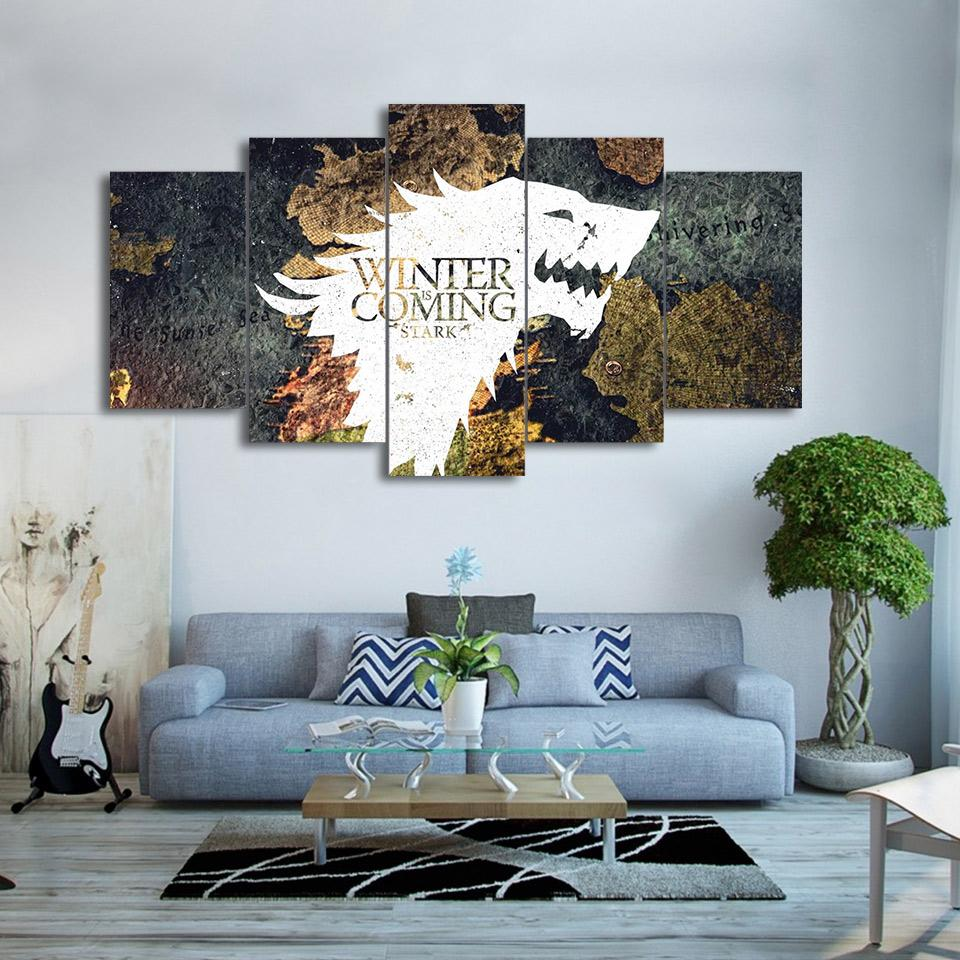 5 Panels Winter Wolf Canvas - wall art - Gaghy.com