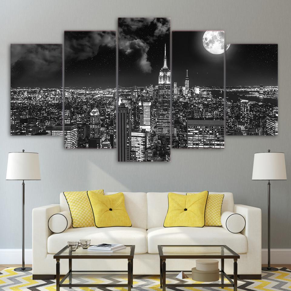 HD Prints 5 Pieces Surreal City Night Brightly Landscape Painting - wall art - Gaghy.com