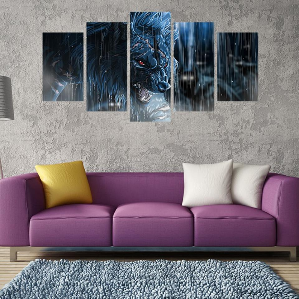 5 Pieces Rainy Day Fierce Wolf HD printed canvas - wall art - Gaghy.com