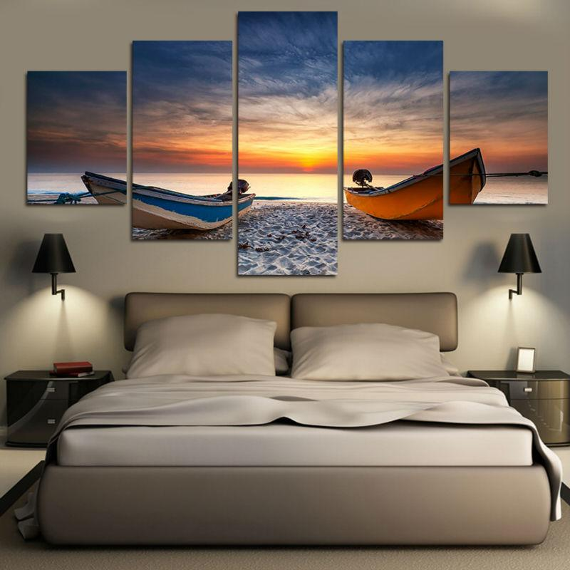 HD Printed 5 Pieces Beach Boat Canvas Painting - wall art - Gaghy.com