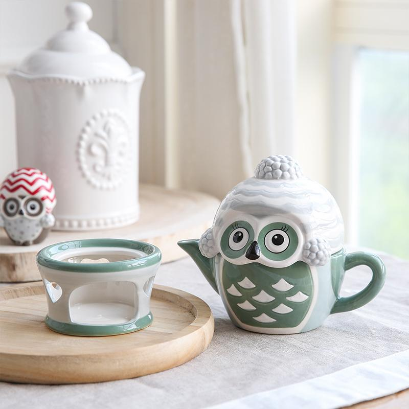 Ceramic Owl Figurine Teapot Set For Home Decoration - kitchen - Gaghy.com