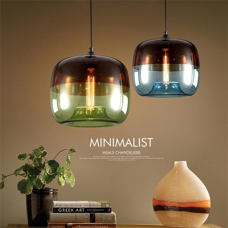 Modern Nordic colorful hanging Glass Pendant Lamp Fixtures E27 LED Lights - pendant lamp - Gaghy.com
