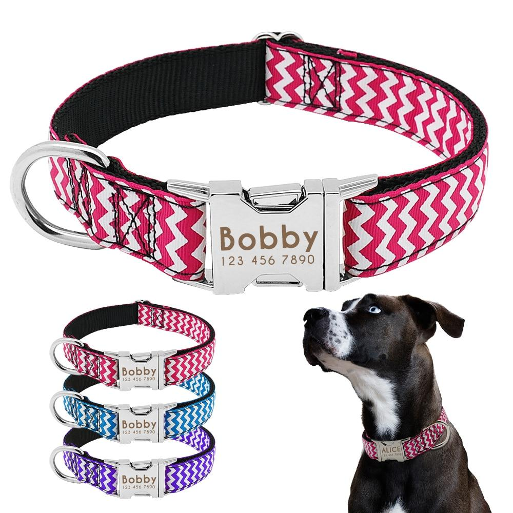 Dog Collar Nylon Personalized Engraved ID Tag AntiLost Adjustable Collars - pet - Gaghy.com