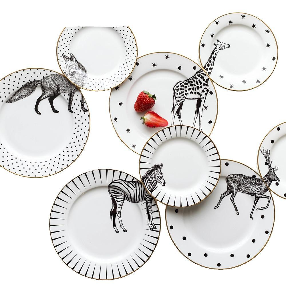 2 Pcs 6&8 Inch Animal Combined Ceramic Plates Set - ceramic plate - Gaghy.com