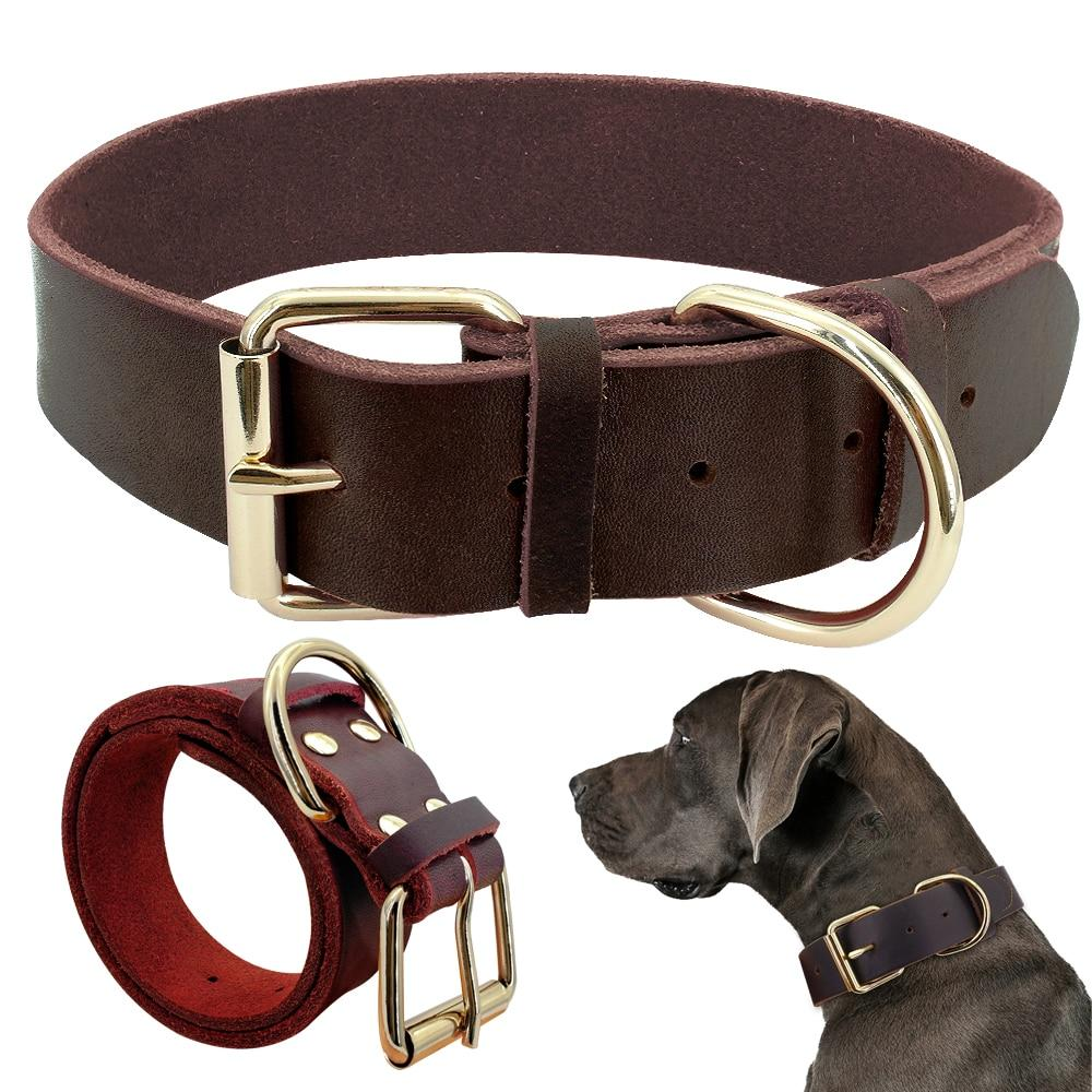Dog Collar Genuine Leather Pet Collars For Small Medium Large Dogs