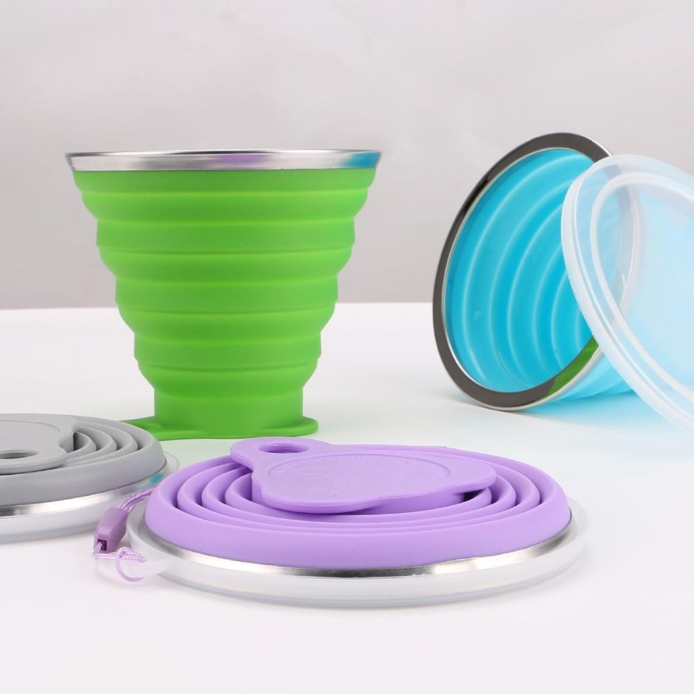 270ML Collapsible Travel Coffee cups Stainless Steel Silicone Retractable Folding Telescopic - kitchen - Gaghy.com