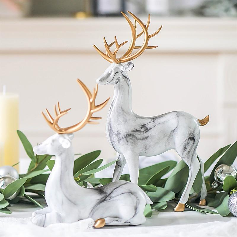 Imitation Marble Christmas Ornaments Elk Decoration Handicraft