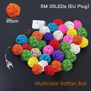 Rattan Ball String Lights - TEROF