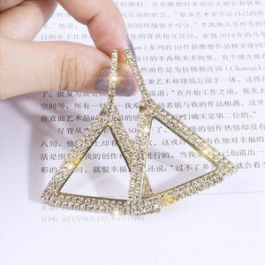 Rhinestone Geometric Earrings - TEROF