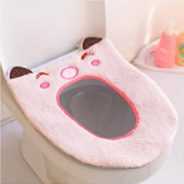 Cartoon Washable Toilet Mat Portable Toilet Seat Cover Warmer Bathroom Accessories Plush Toilet Cushion - TEROF