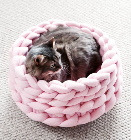 knitted pet cat bed