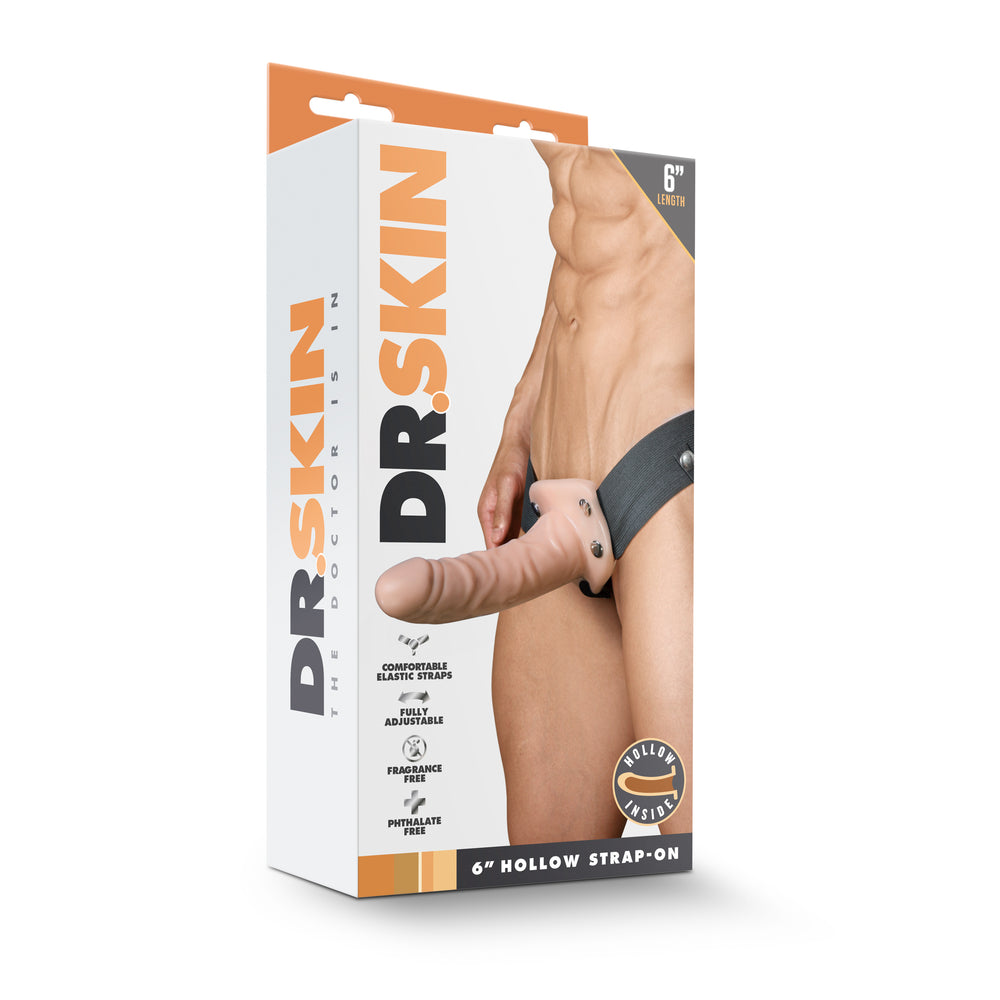 Dr. Skin - 6 Inch Hollow Strap On - Vanilla