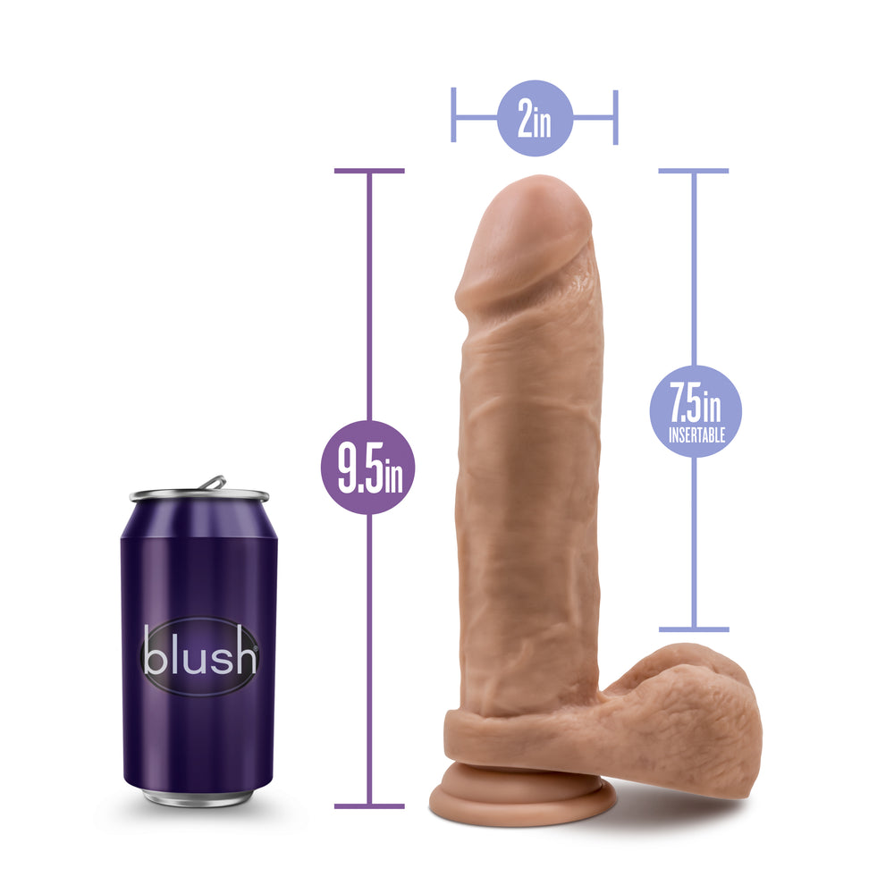 Au Naturel - 9.5 Inch Dildo with Suction Cup - Mocha