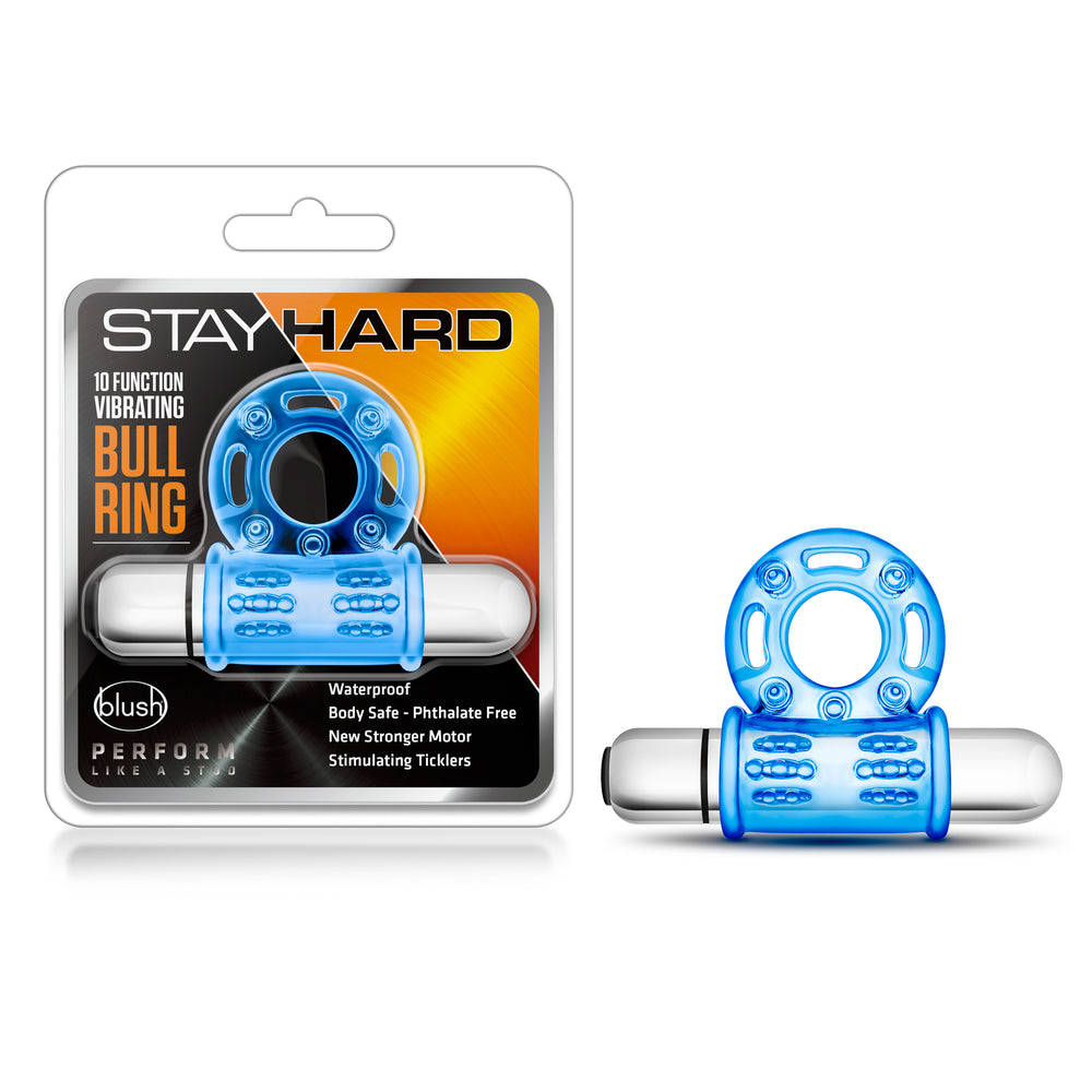 Stay Hard - 10 Function Vibrating Bull Ring - Blue