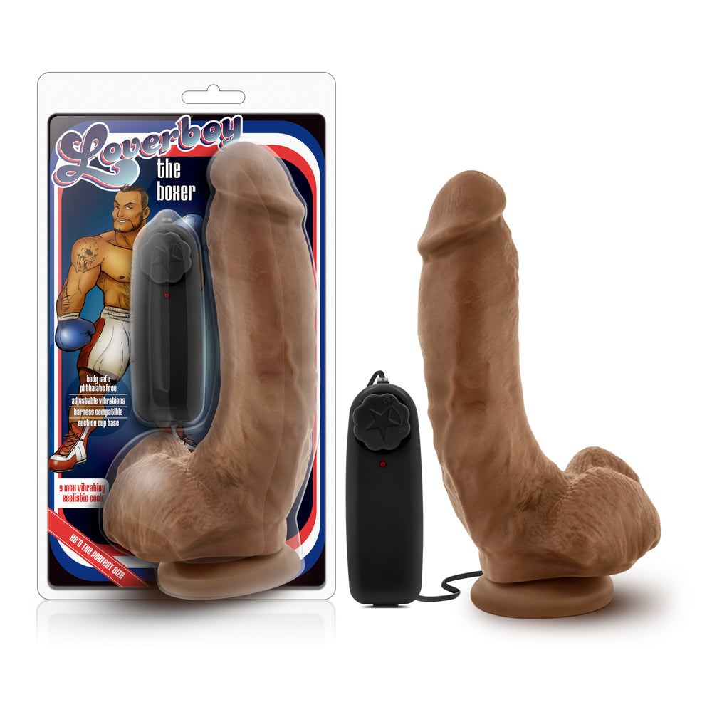 Loverboy - The Boxer - 9 inch Vibrating Realistic Cock - Mocha