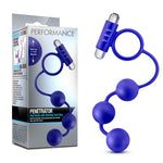 Performance - Penetrator - Anal Beads with Vibrating Cock Ring - Indigo