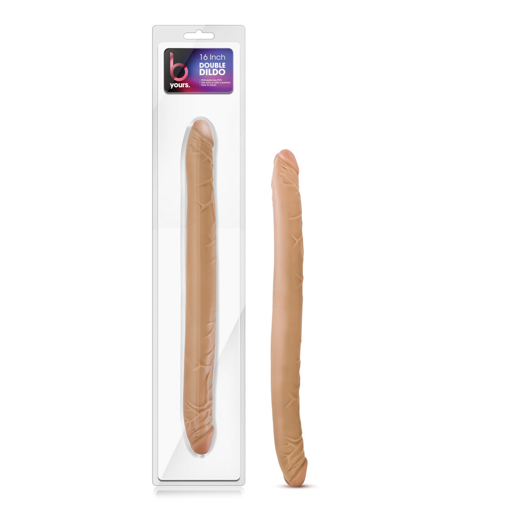 "B Yours - 16"" Double Dildo - Latin"