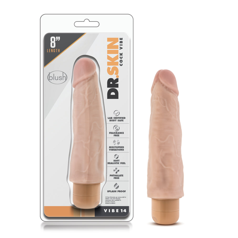 Dr. Skin - Cock Vibe 14 - 8 Inch Vibrating Cock - Beige