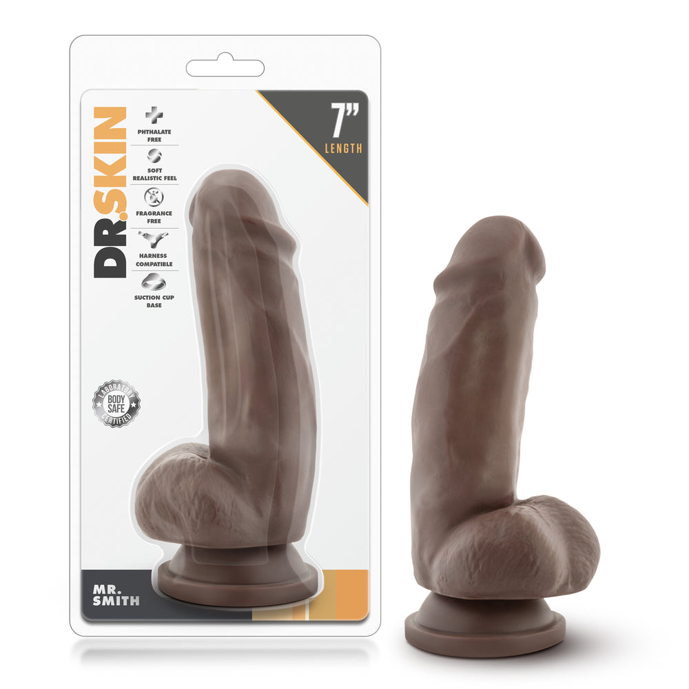 Dr. Skin - Mr. Smith - 7 Inch Dildo with Suction Cup - Chocolate