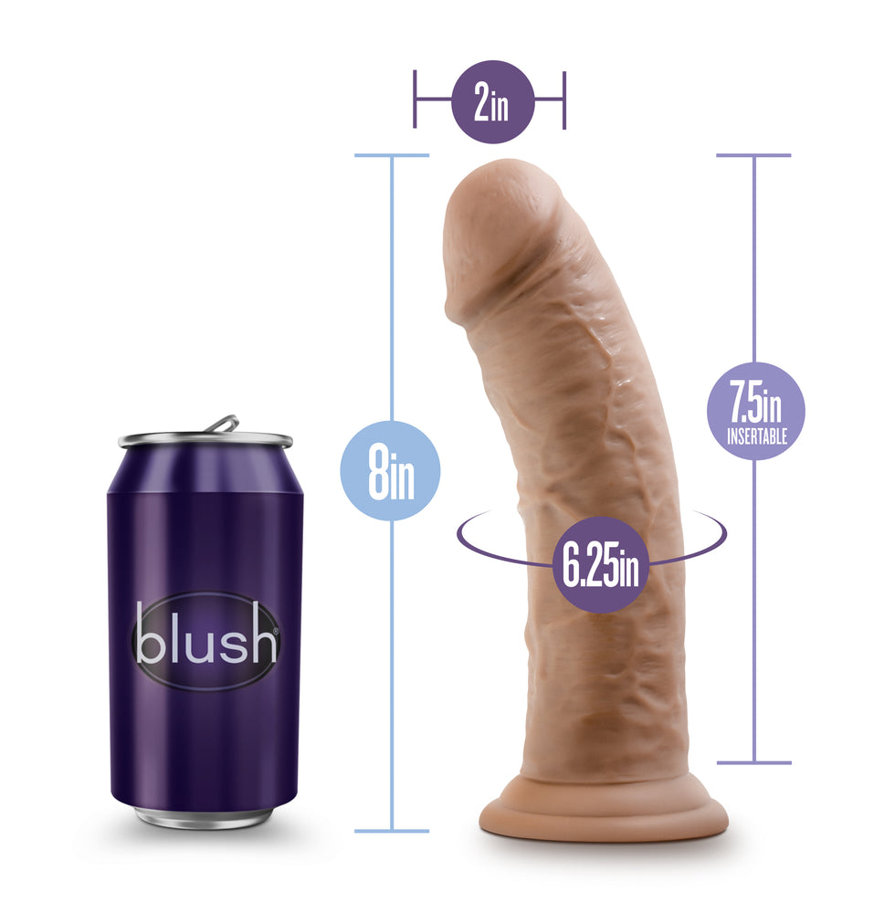 Au Naturel - 8 Inch Dildo with Suction Cup - Mocha