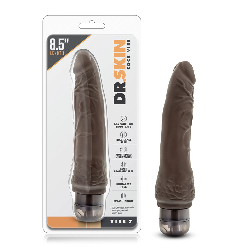 Dr. Skin - Cock Vibe 7 - 8.5 Inch Vibrating Cock - Chocolate