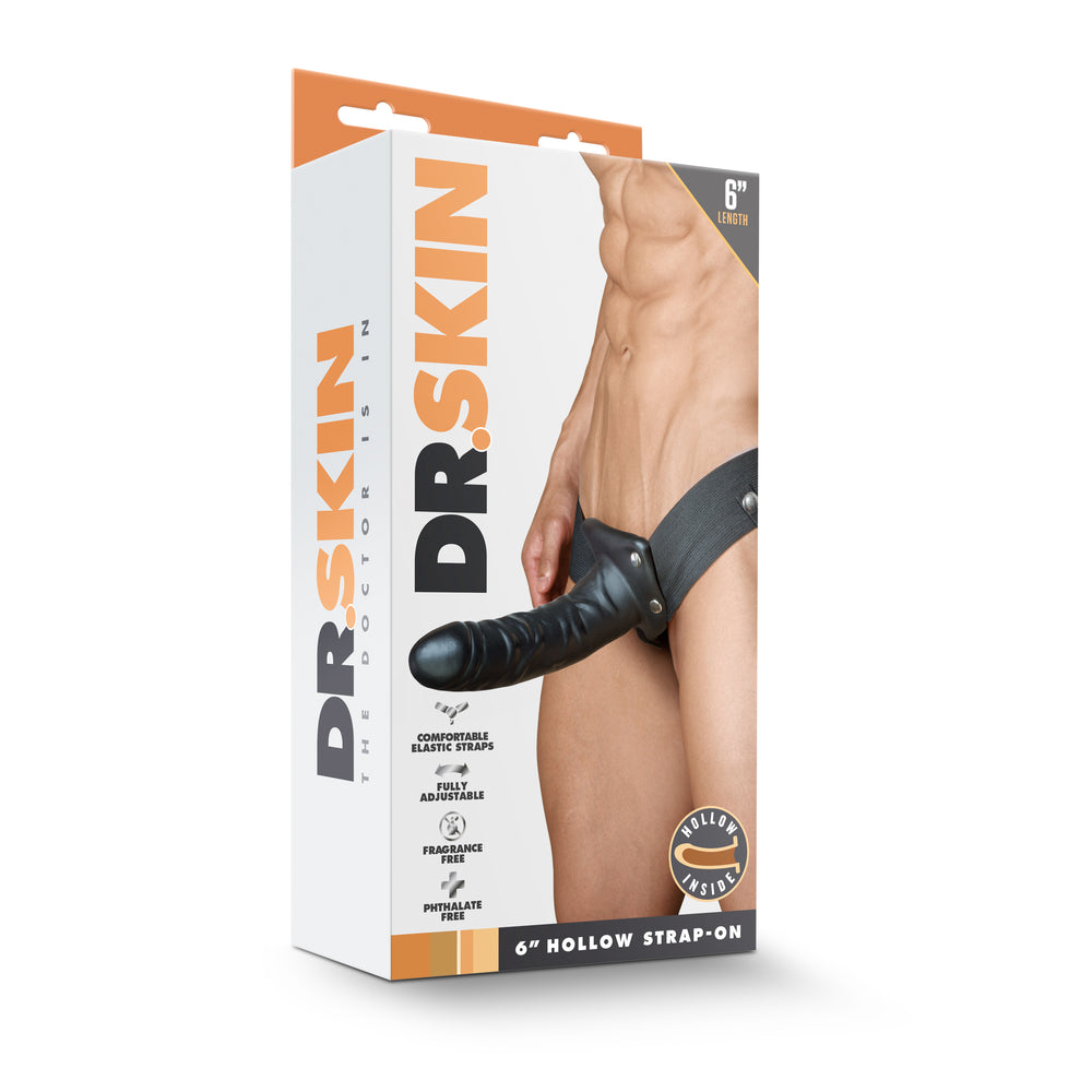 Dr. Skin - 6 Inch Hollow Strap On - Black