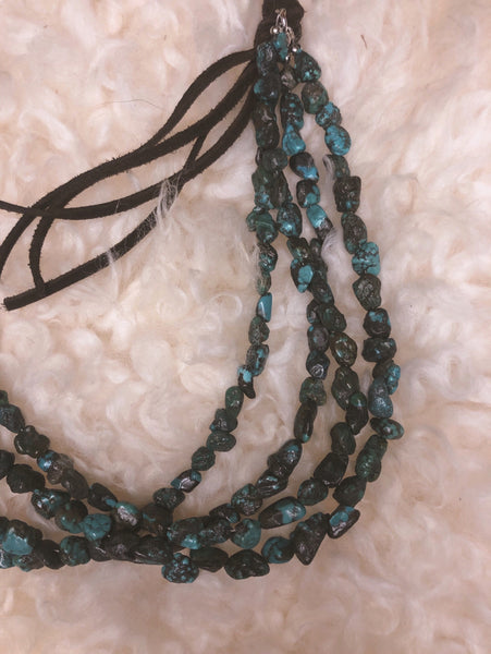 Genuine Dark Blue Turquoise with Leather
