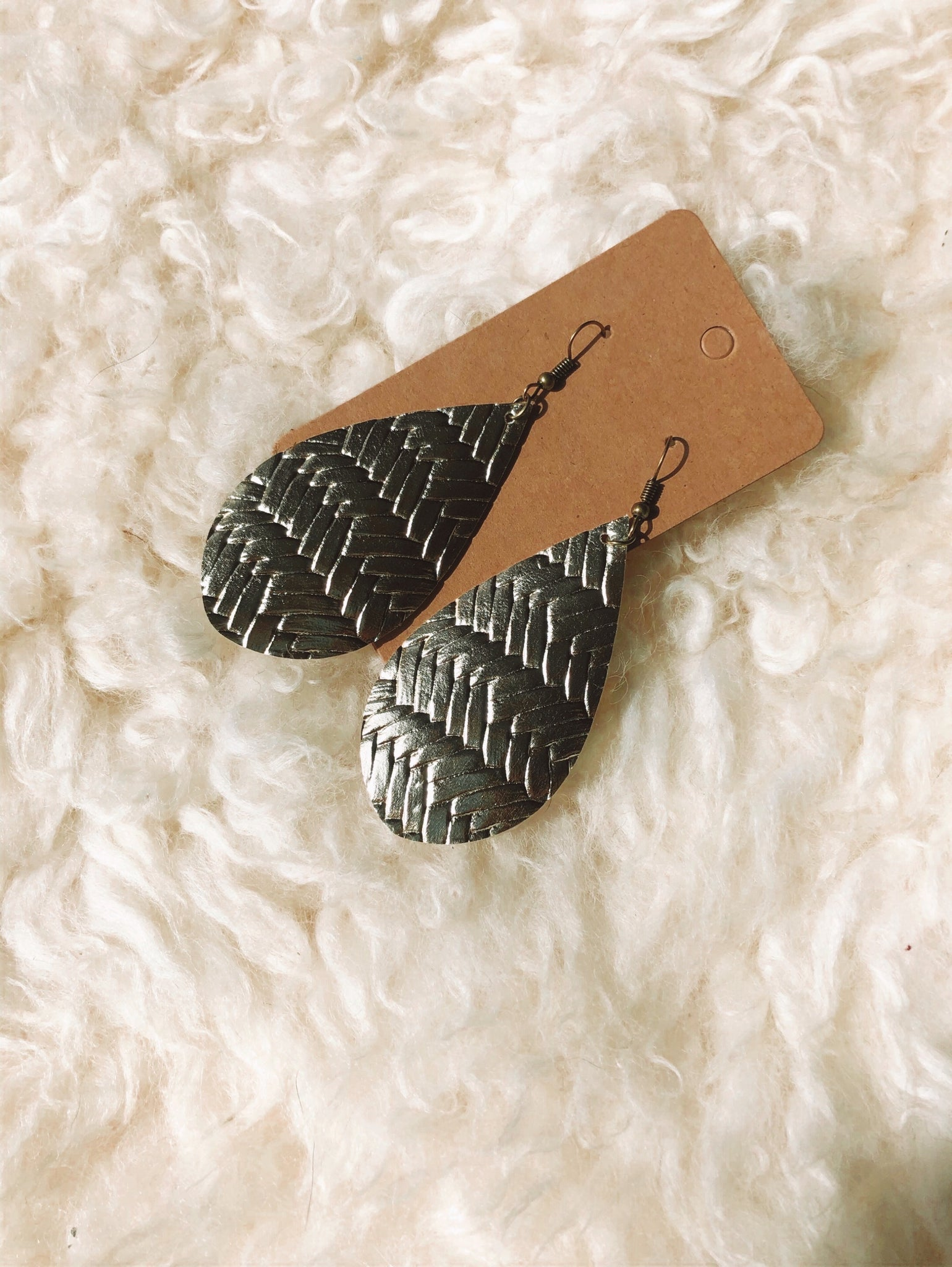 Gold Herringbone Leather-Like Earrings