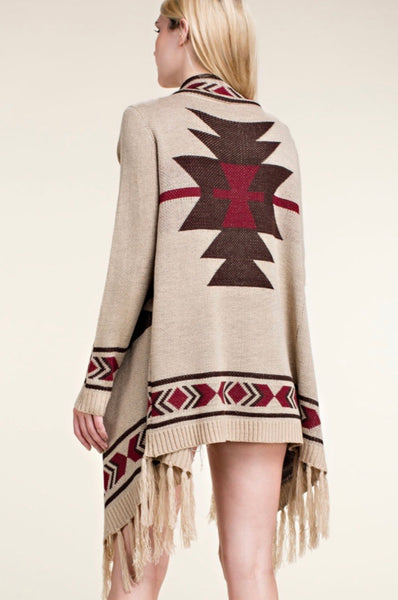 Taupe Aztec Long Sleeve Cardigan