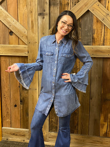 Denim Dress With Bell Sleeves
