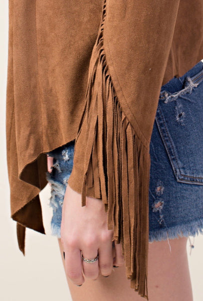 Camel Suede Fringed Jacket