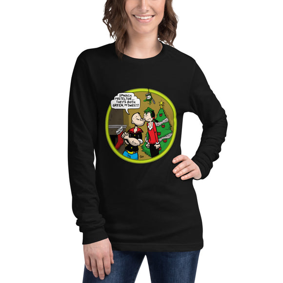 Popeye Spinach Mistletoe Womens Unisex Long Sleeve Tee