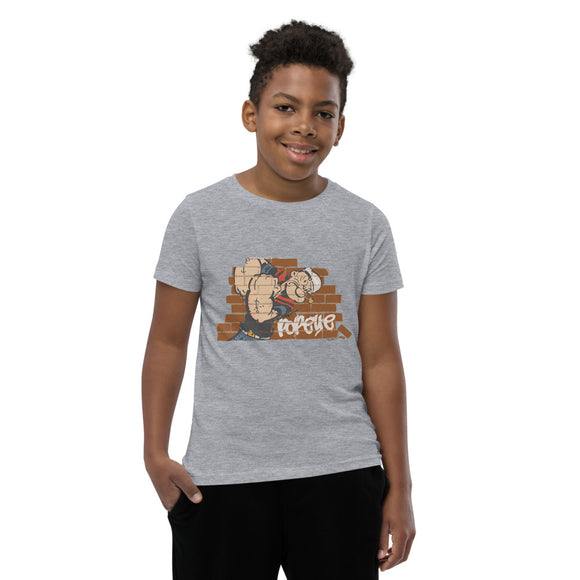 Popeye Brick wall - Youth Short Sleeve T-Shirt