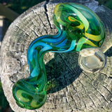 Green Zig Zag Pipe by WIllow - Functional Glass