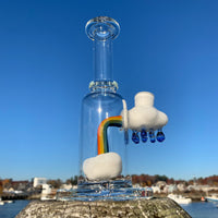 14mm Up In The Clouds Rig (A) + 2 Rainbow Terp Pearls by Samson Glass - Functional Glass