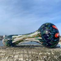 White Inside Out Latticino Spoon by Adam Driver - Functional Glass