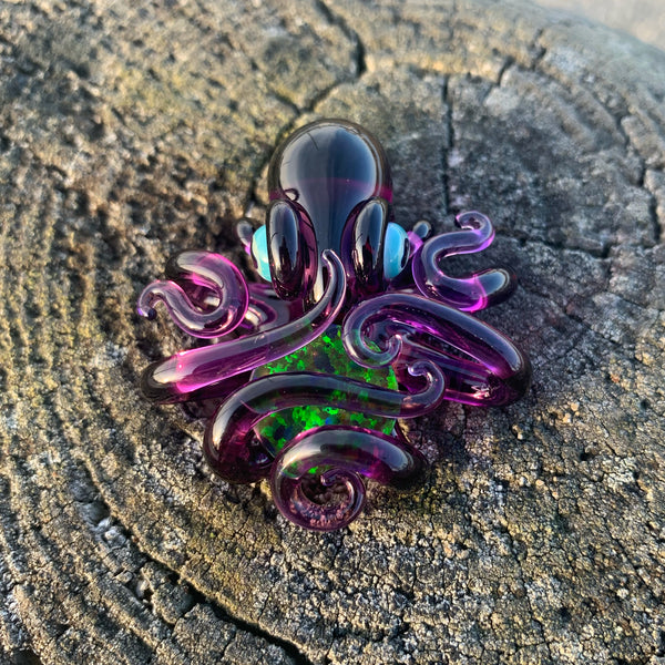 Liz Wright Gold Amethyst Octopus Pendant with Opal Trap - Functional Glass
